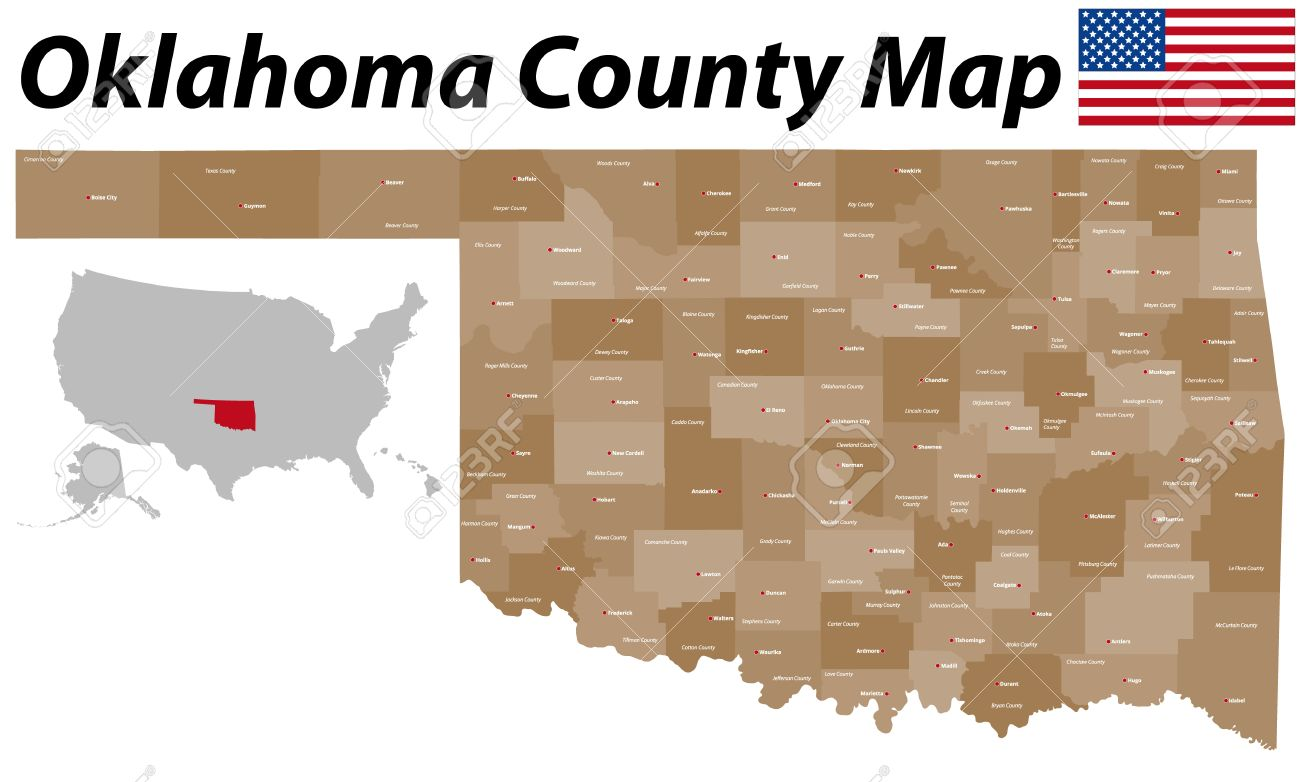 A Large And Detailed Map Of The State Of Oklahoma Counties And - Detailed map of oklahoma