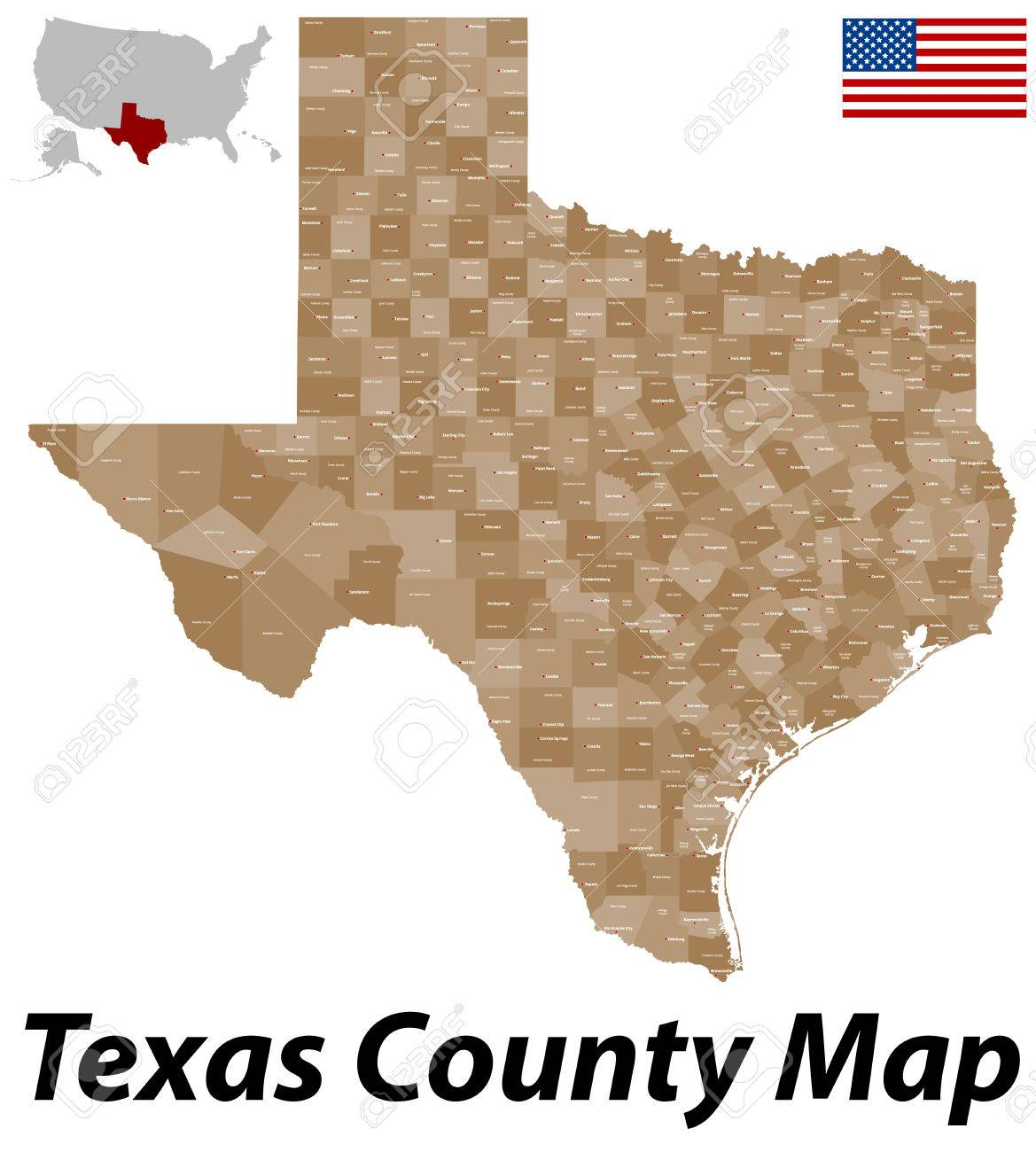 State Of Texas Counties Map.A Large And Detailed Map Of The State Of Texas Counties And County