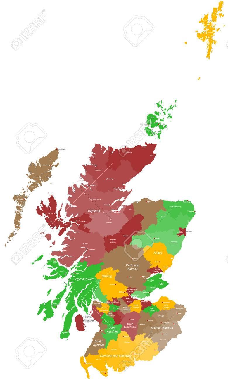Cartina Scozia Dettagliata.Vettoriale Un Ampia E Dettagliata Cartina Della Scozia Con Tutte Le Aree Contee E Citta Image 40496861
