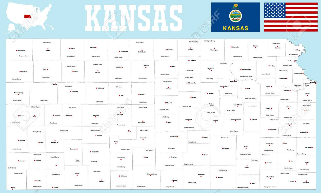 A Large And Detailed Map Of The State Of Kansas. Royalty Free ... on