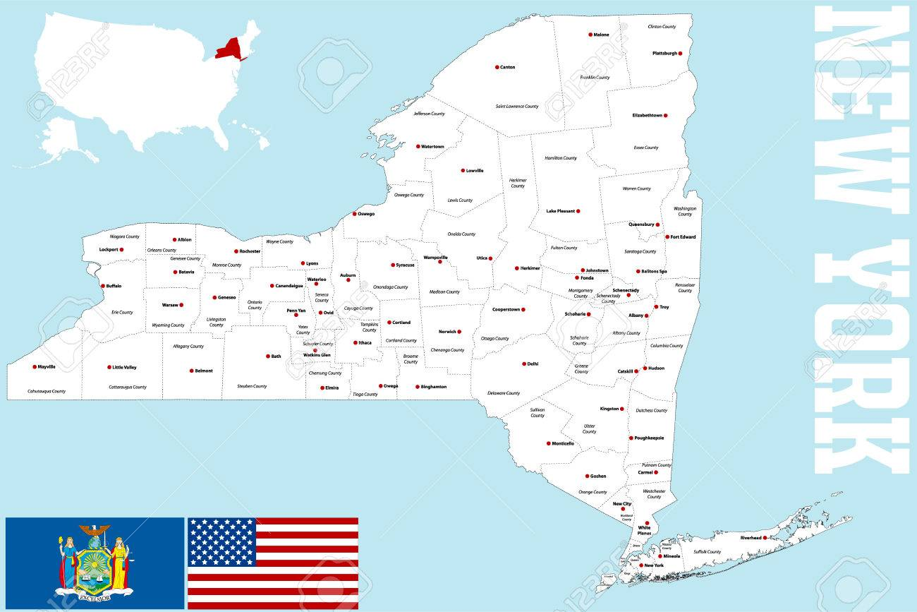 Map Of Cities In New York State.A Large And Detailed Map Of The State Of New York With All Counties