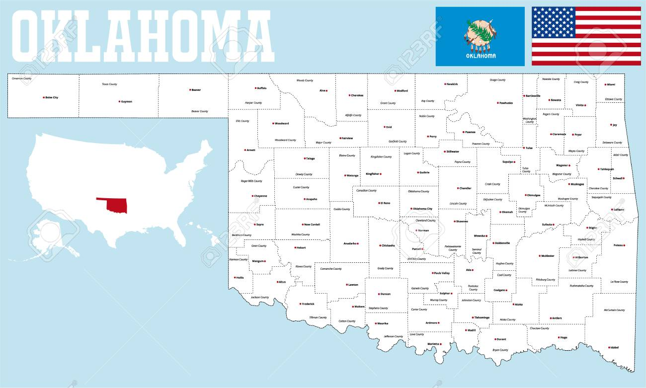 Full Large Oklahoma State Map Withcounties on