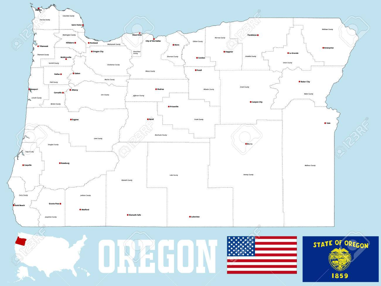 A Large And Detailed Map Of The State Of Oregon With All Counties