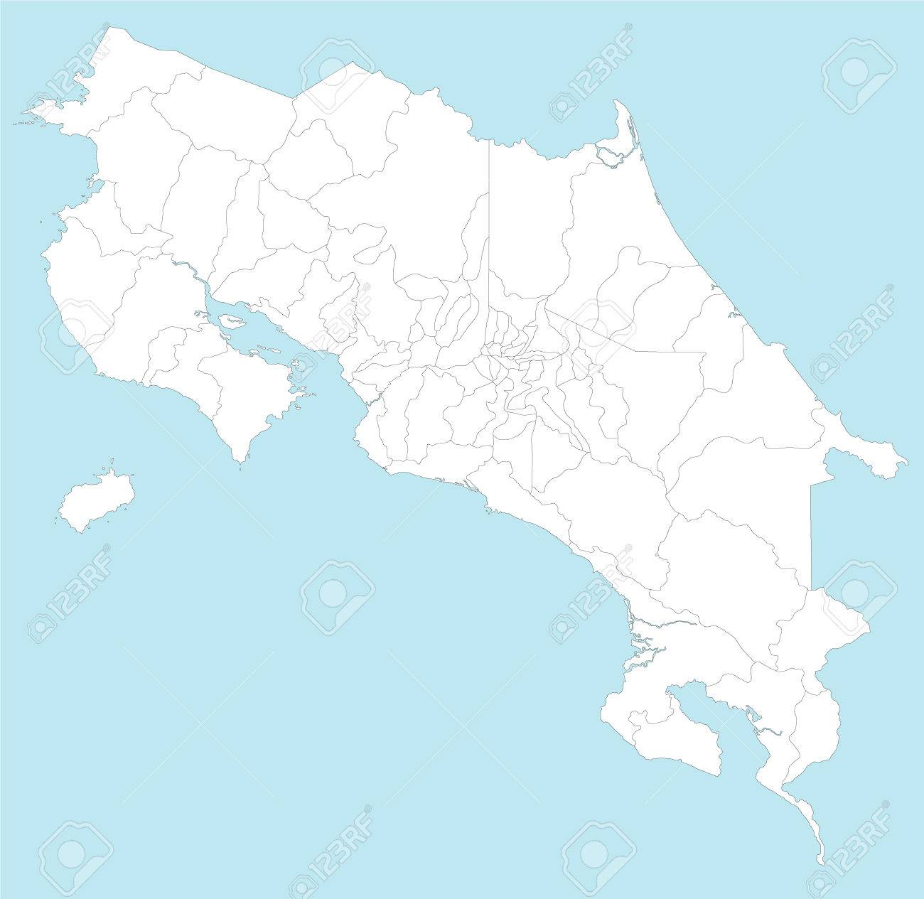 A large and detailed map of Costa Rica with all provincesa and..