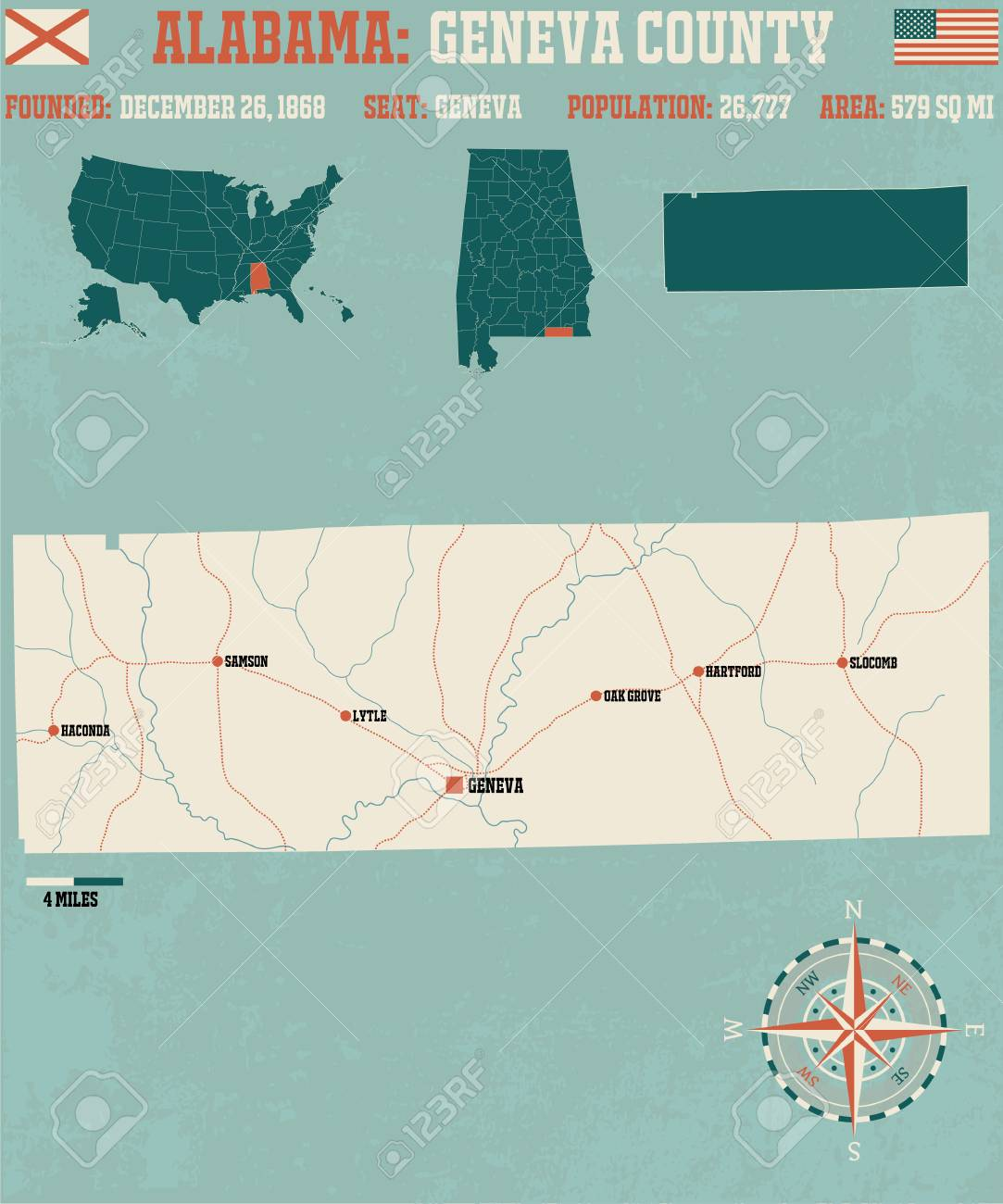 Large And Detailed Map And Info About Etowah County, Alabama Royalty ...