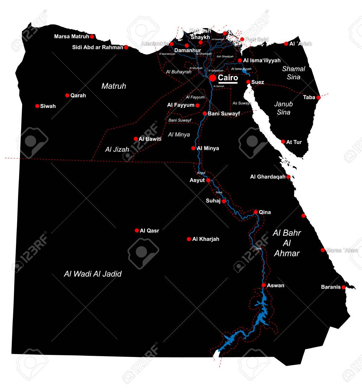 Large And Detailed Map Of Egypt With All Departments And Main