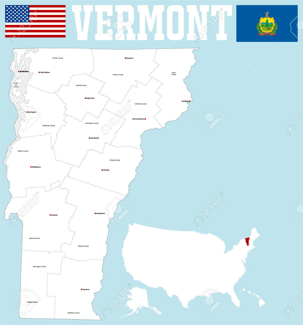 large and detailed map of the State of Vermont with all counties..