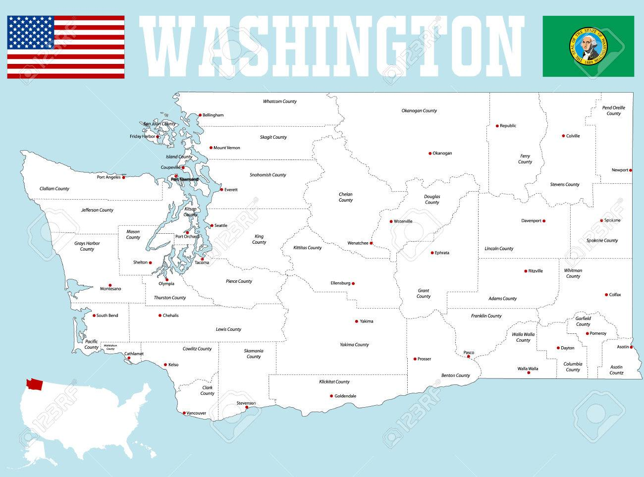 A large and detailed map of the State of Washington with all..
