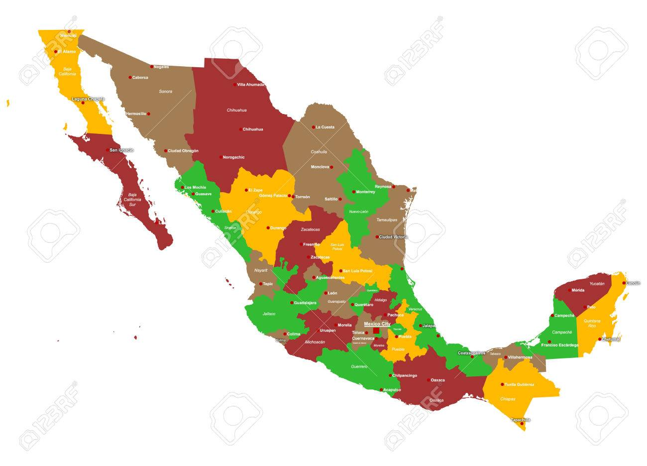 Large And Detailed Map Of Mexico With Regions And Main Cities ...