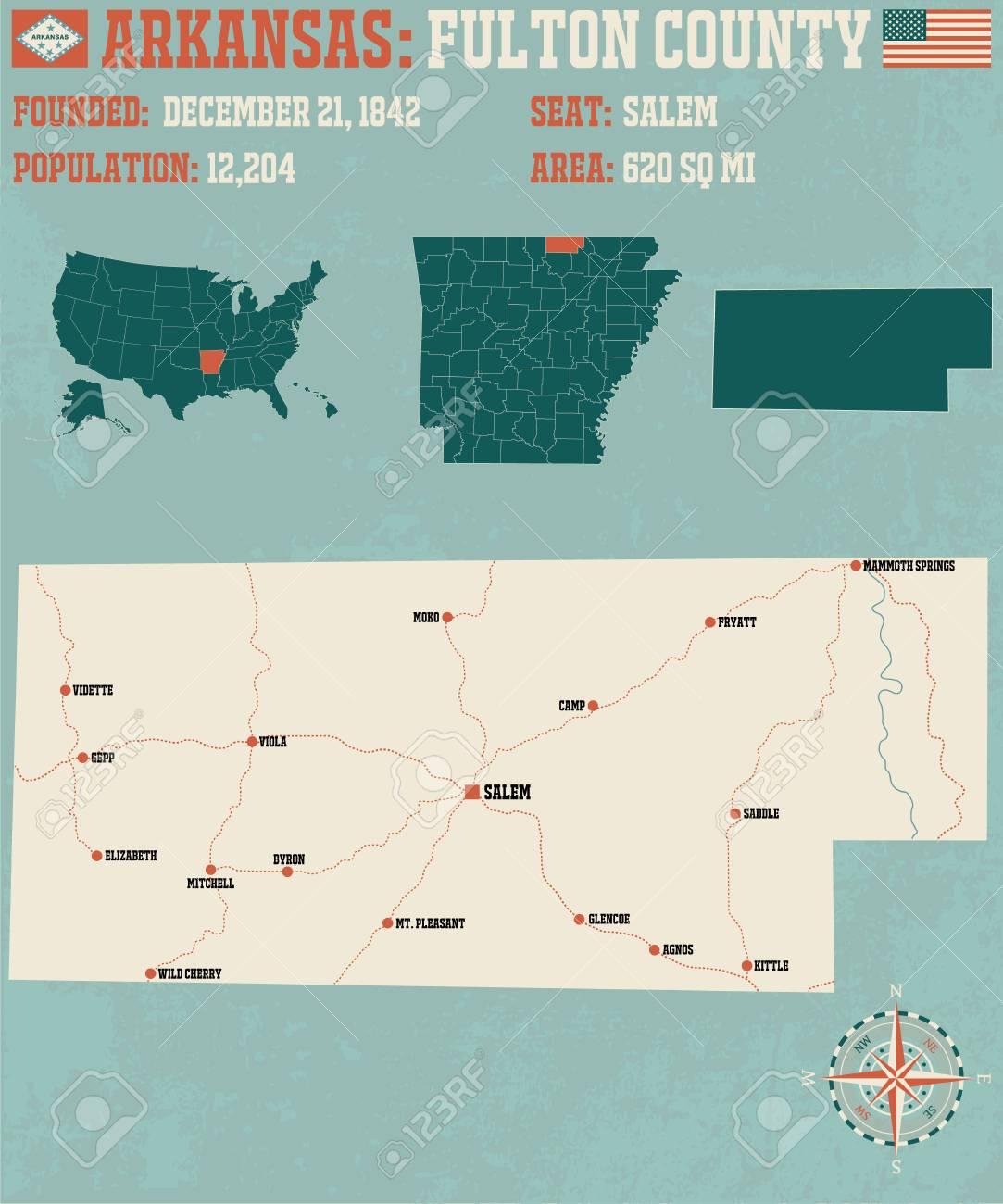 アーカンソー州のフルトン郡の大規模かつ詳細な地図を表示。のイラスト ...