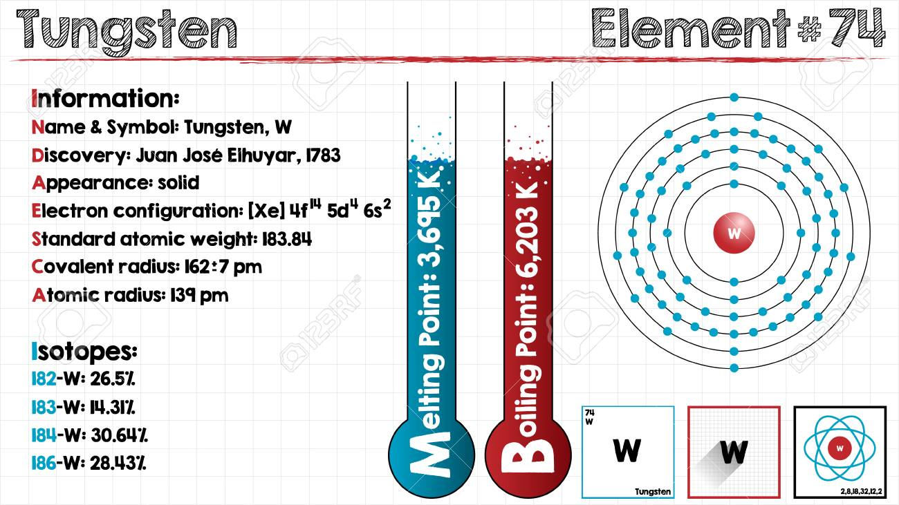 Large And Detailed Infographic Of The Element Of Tungsten Royalty