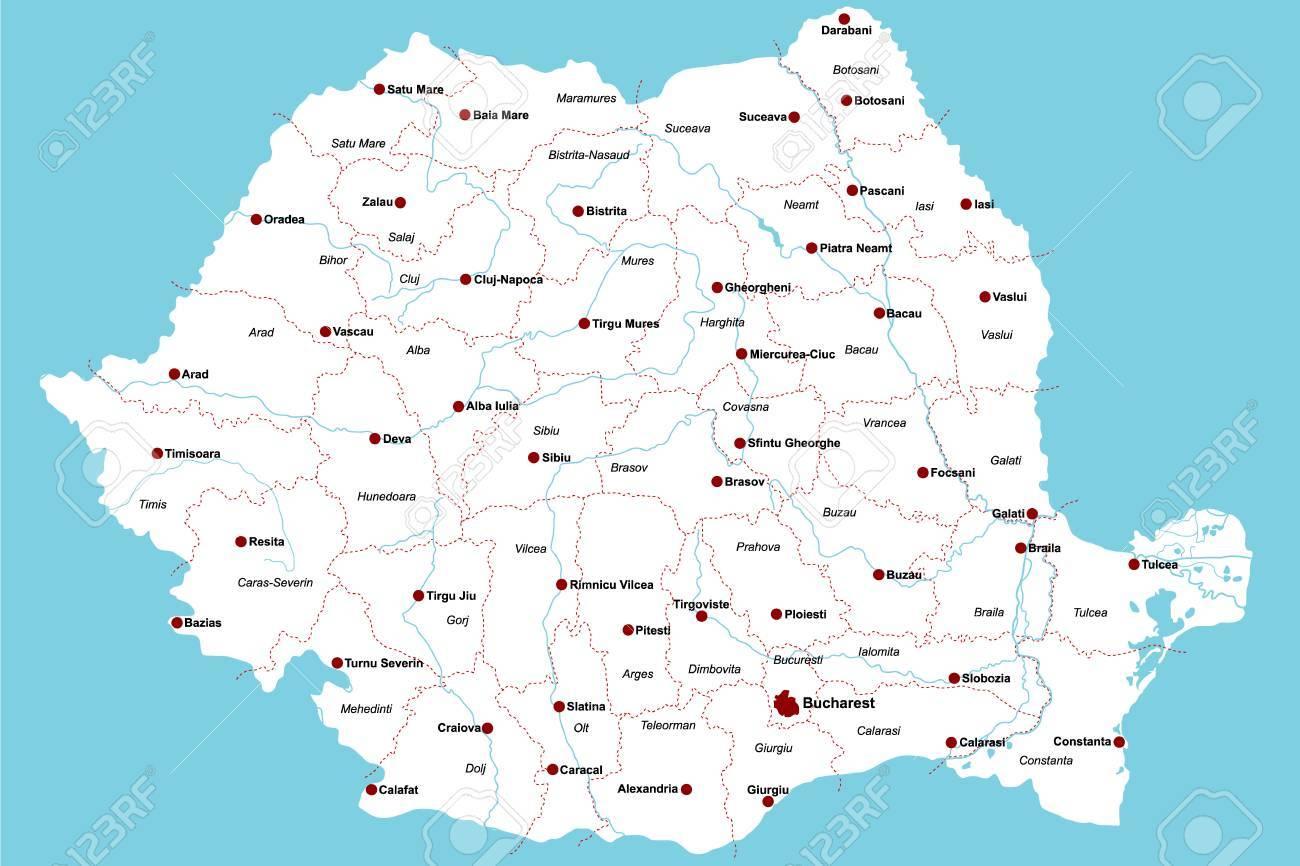 Cartina Romania Regioni.Vettoriale Mappa Grande E Dettagliata Della Romania Con Le Regioni E Le Principali Citta Image 78714550
