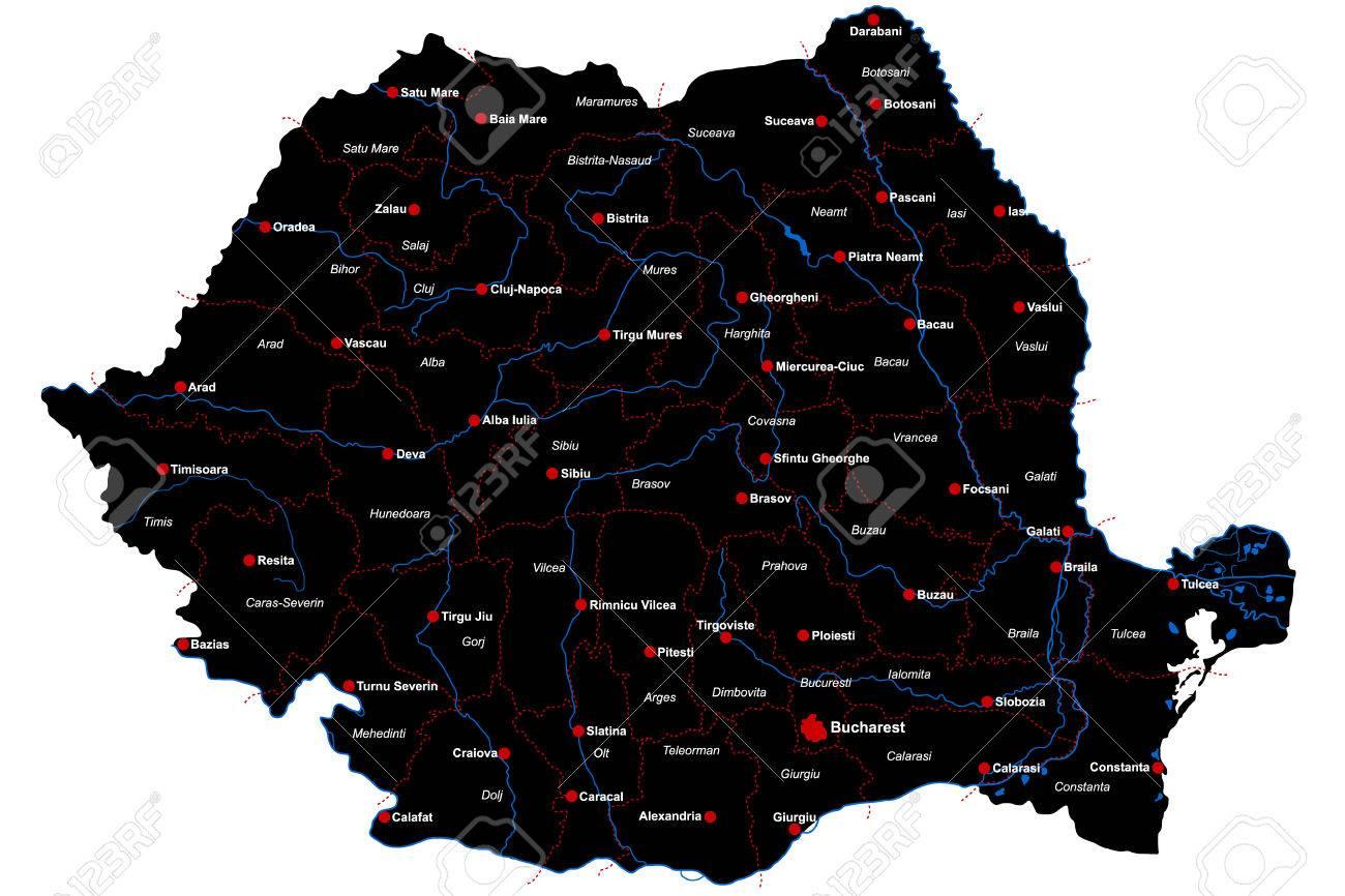 Cartina Dettagliata Romania.Vettoriale Mappa Grande E Dettagliata Della Romania Con Le Regioni E Le Principali Citta Image 78714551