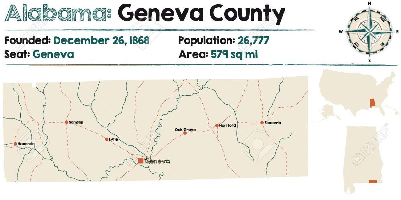 Large And Detailed Map Of Geneva County, Alabama Royalty Free ...
