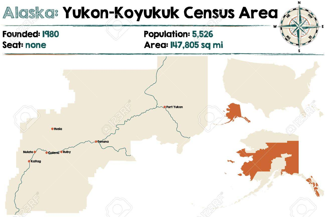 Fort Yukon Alaska Map.Large And Detailed Map Of Yukon Koyukuk Census Area In Alaska
