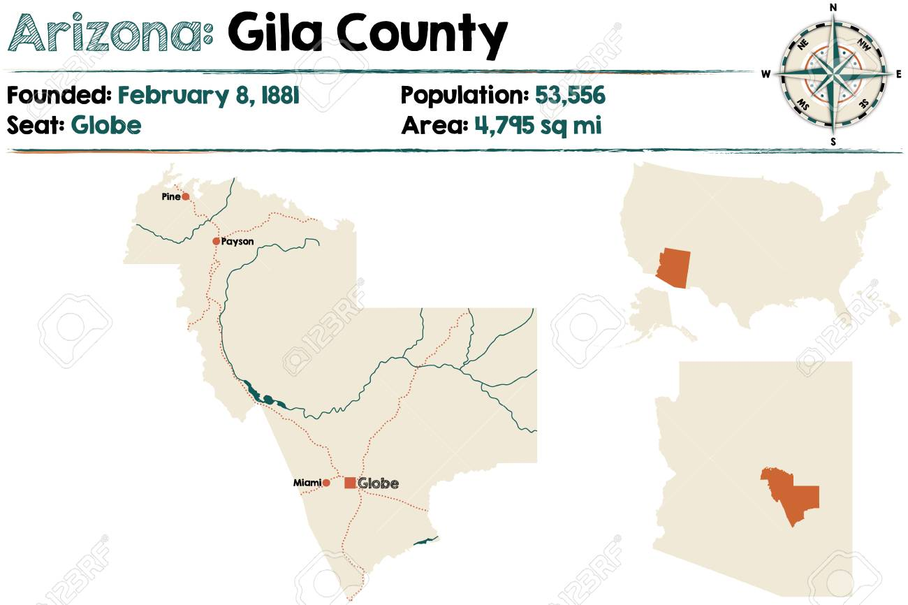 Large and detailed map of Gila county in Arizona on peridot mesa map, lincoln county map, navajo county map, albuquerque county map, coconino county map, roosevelt county map, monticello county map, brown county map, pinal county map, litchfield county map, tucson map, yuma county map, yavapai county map, laramie county map, grand county map, arizona map, united states county map, pima county map, mills county map, crenshaw county map,