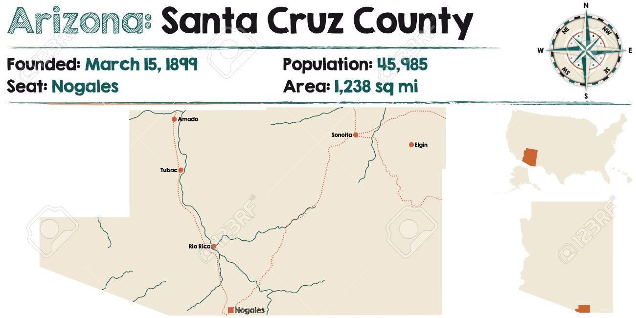 Map Of Elgin Arizona.Large And Detailed Map Of Santa Cruz County In Arizona