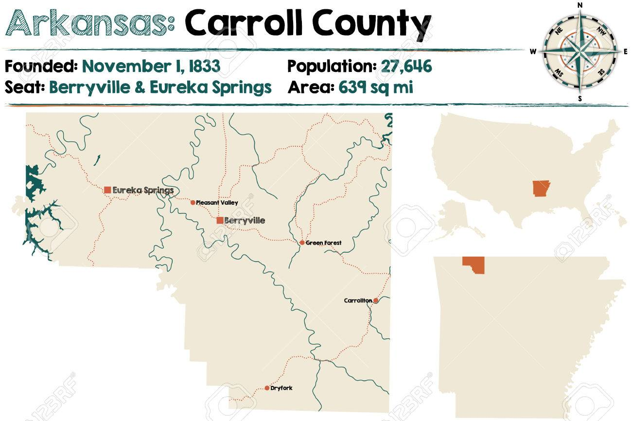 Large And Detailed Map Of Carroll County In Arkansas Illustration