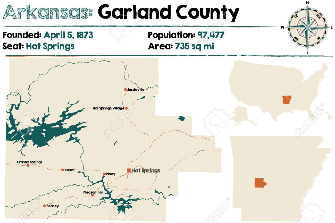 Large And Detailed Map Of Garland County In Arkansas Royalty Free