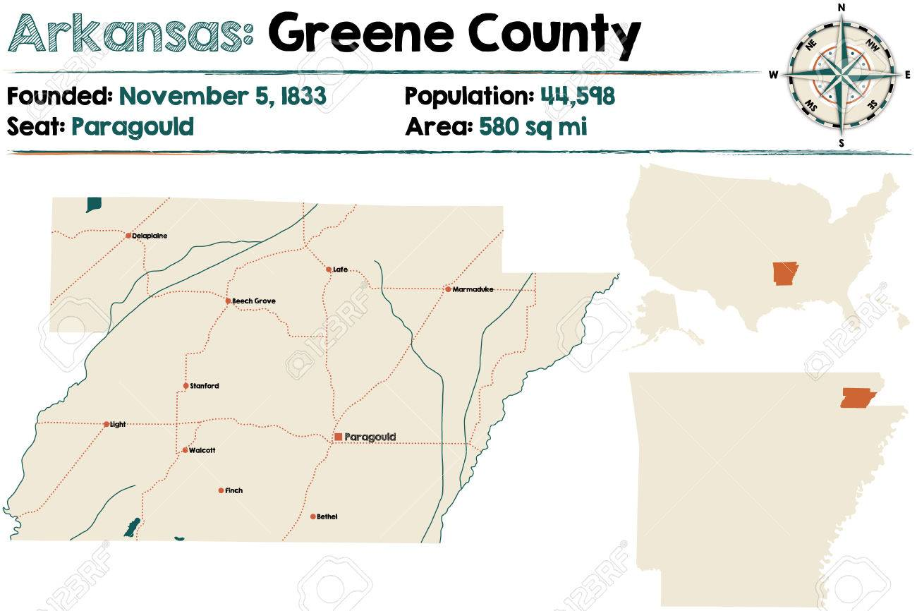 Large And Detailed Map Of Arkansas Greene County Royalty Free