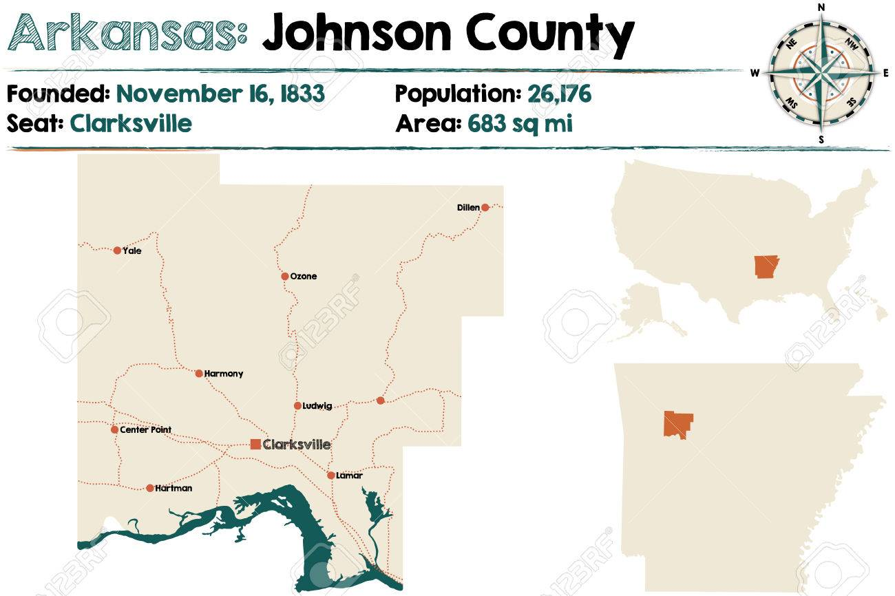 Large And Detailed Map Of Arkansas Johnson County Royalty Free