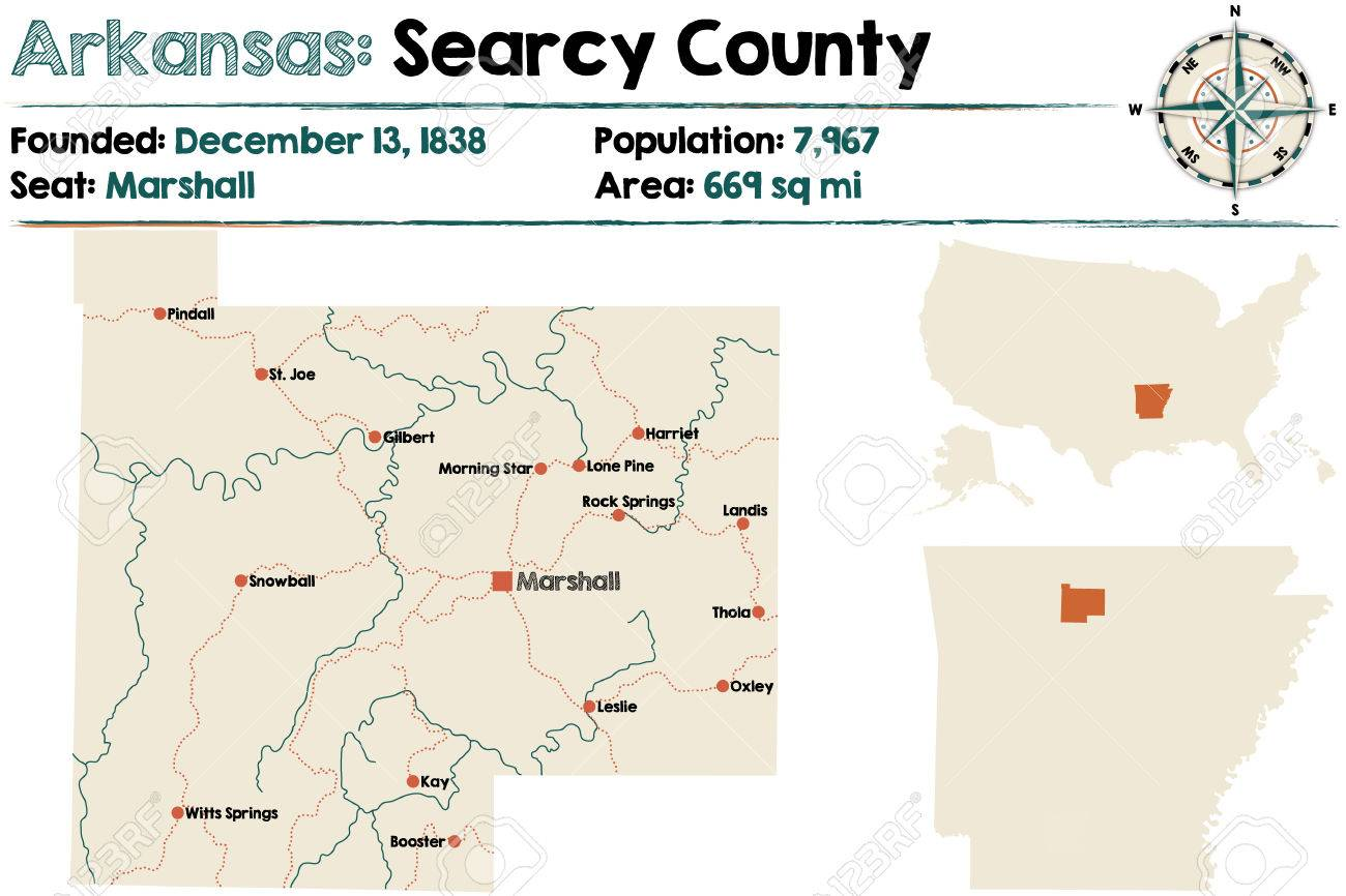 Large And Detailed Map Of Arkansas - Searcy County Royalty Free ...