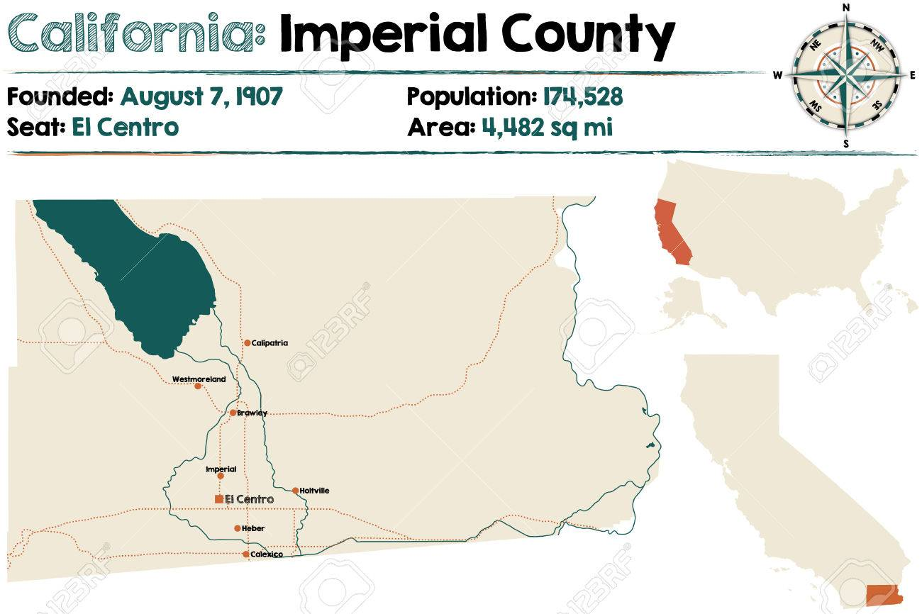Imperial Nebraska Map.Large And Detailed Map Of California Imperial County Royalty Free