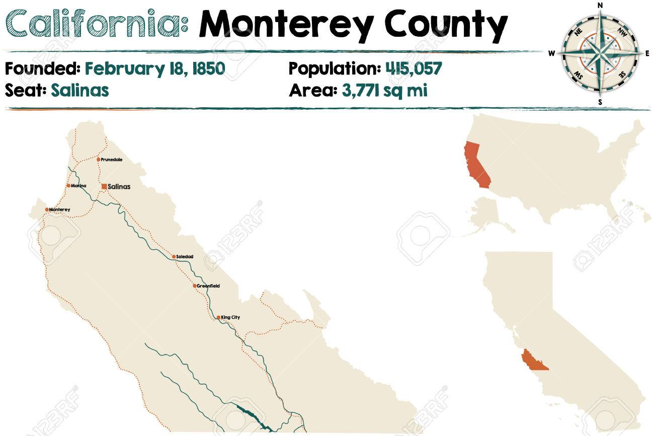 Large And Detailed Map Of California Monterey County Royalty - Detailed map of california