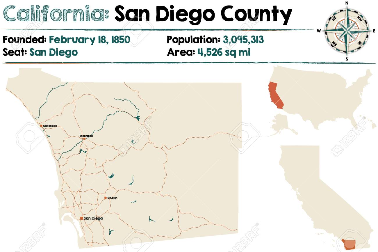 California Map San Diego County.Large And Detailed Map Of California San Diego County