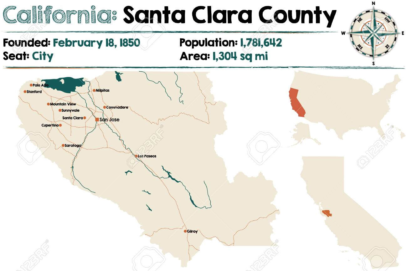 Large And Detailed Map Of Santa Clara County In California Royalty