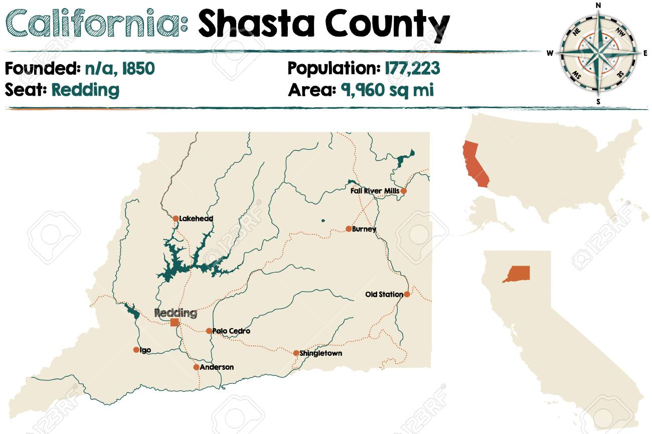Large And Detailed Map Of Shasta County In California Royalty Free