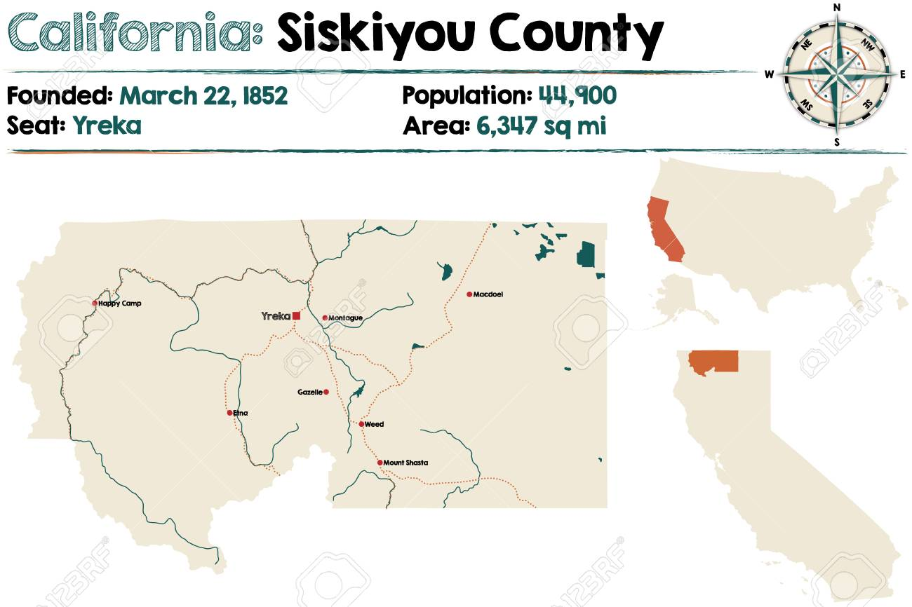 Large And Detailed Map Of Siskiyou County In California Royalty Free