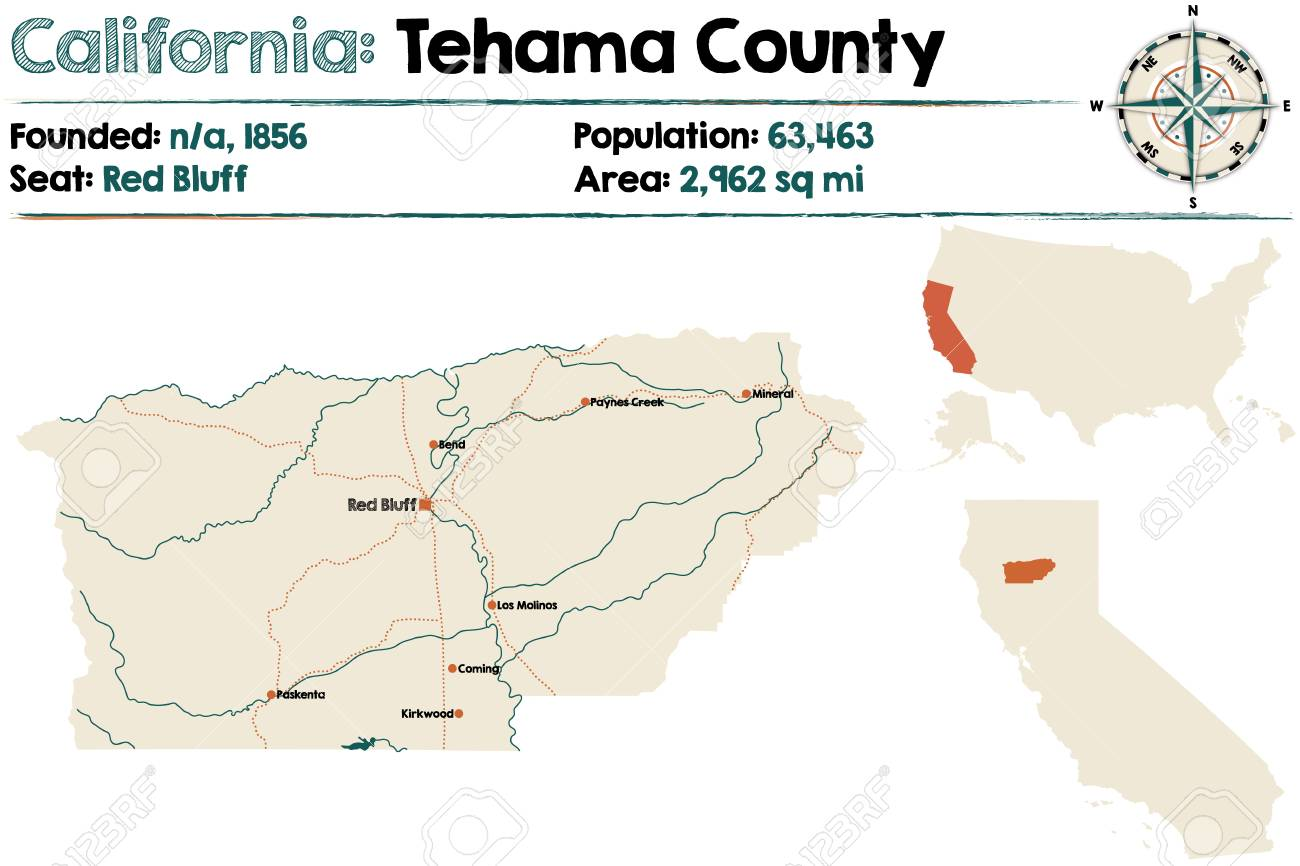 Large And Detailed Map Of Tehama County In California Royalty Free