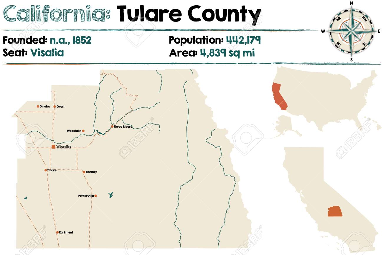Lindsay California Map.Large And Detailed Map Of Tulare County California Royalty Free