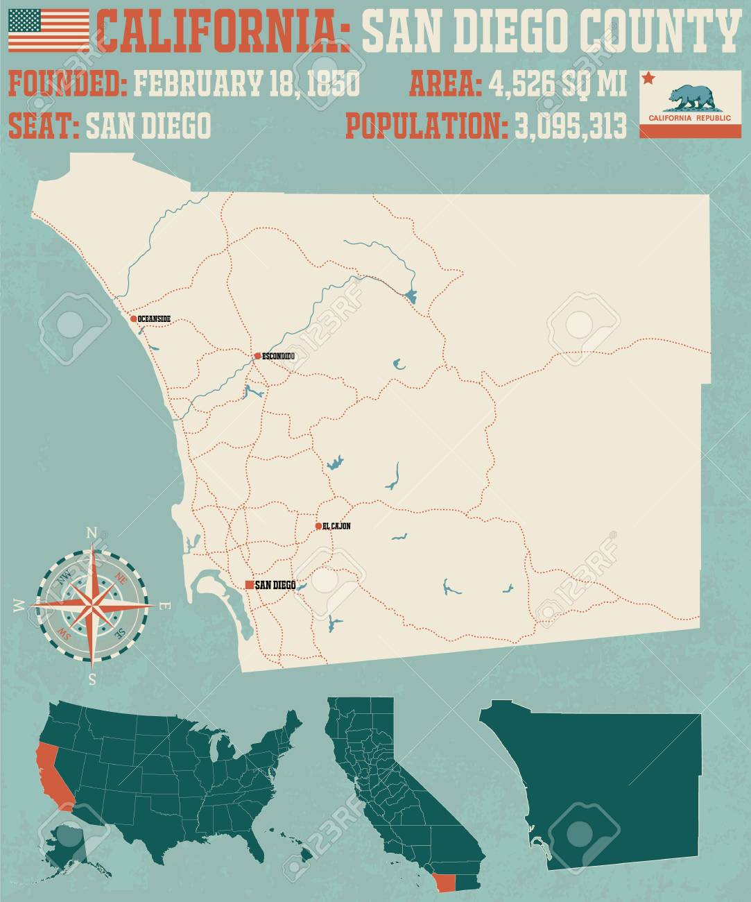 California Map San Diego County.Large And Detailed Map Of San Diego County In California