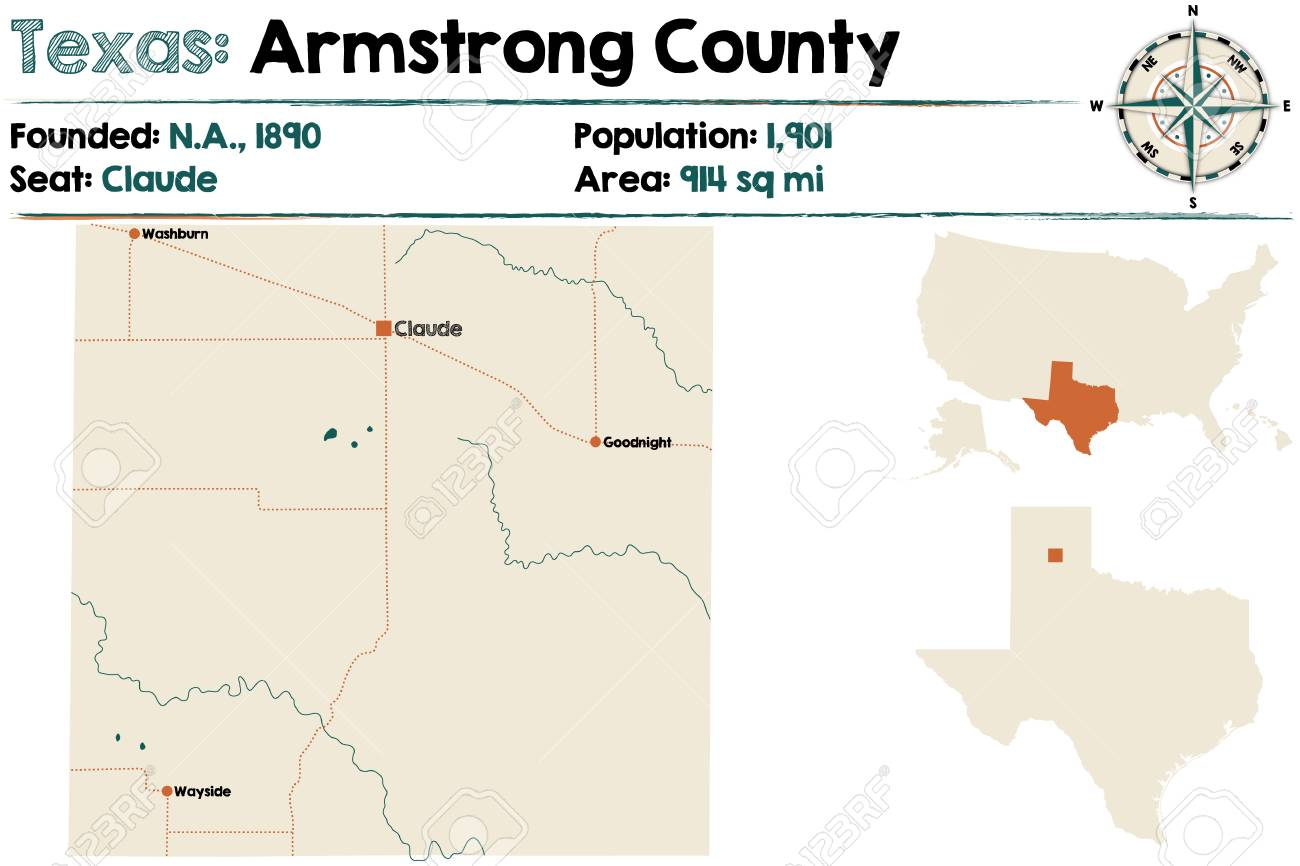 Detailed Map Of Texas.Detailed Map Of Armstrong County In Texas United States Royalty