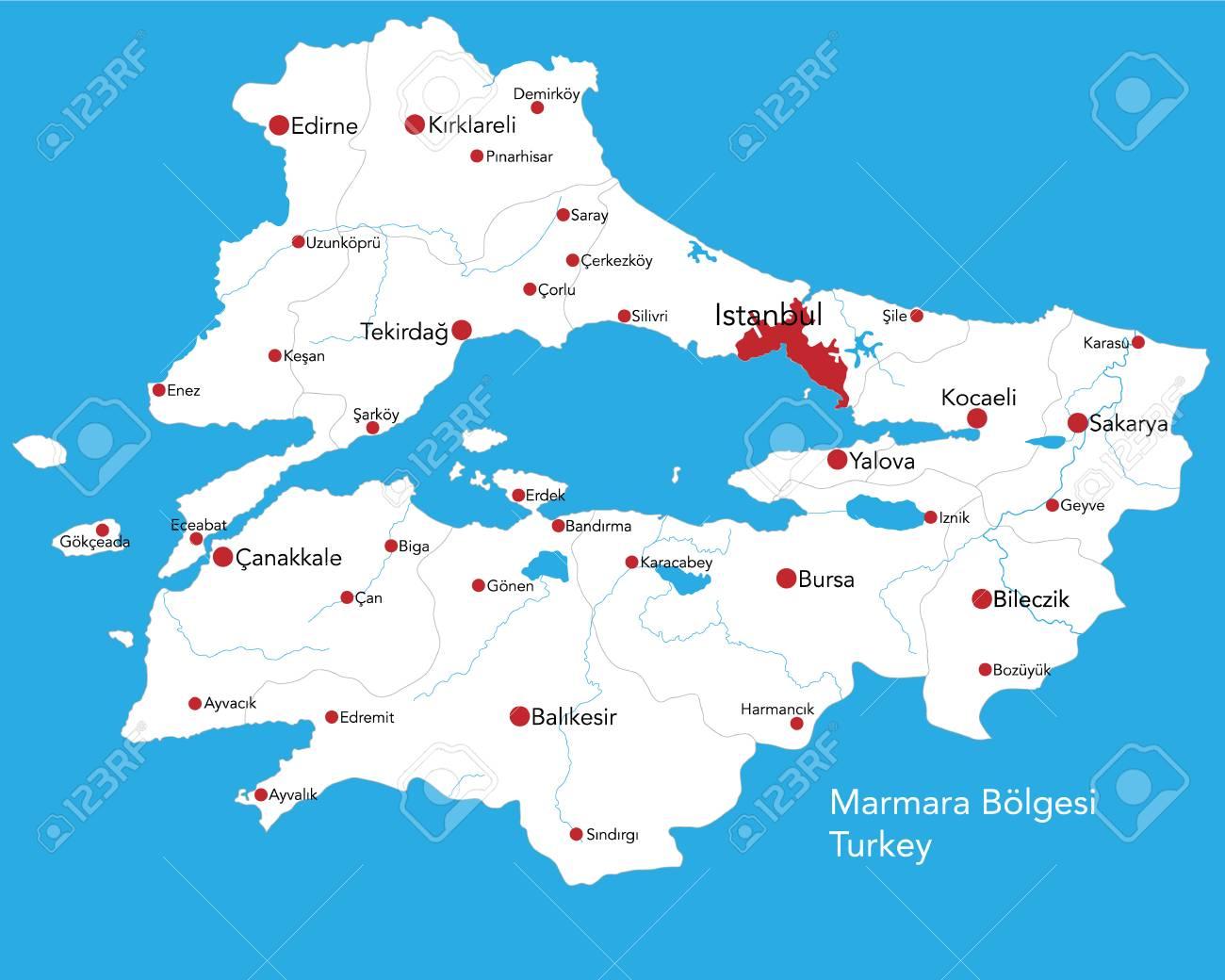 Large Map Of The Turkish Area Of Marmara Boelgesi Royalty Free