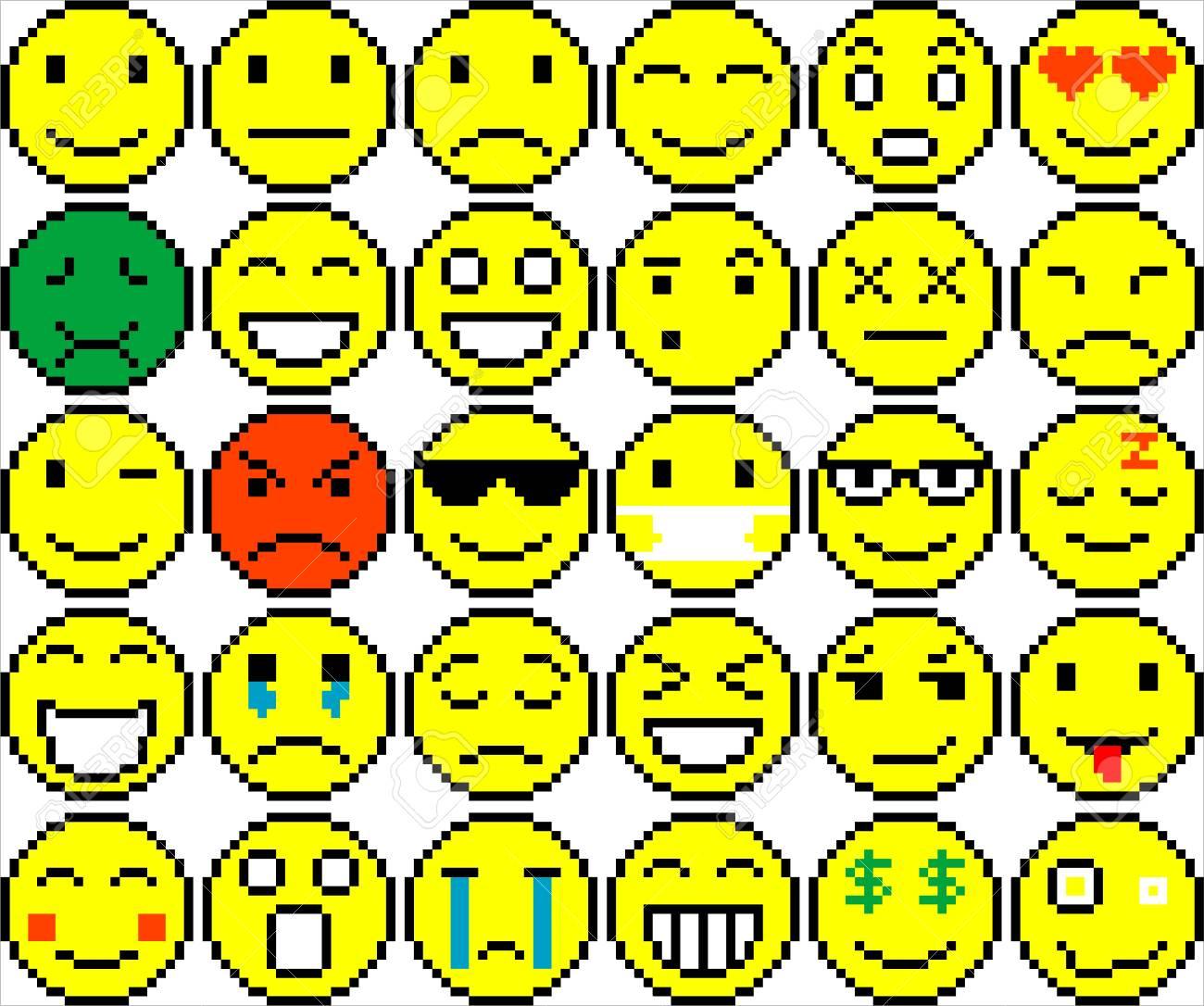 Set Of Black And White Pixel Art Emoticons