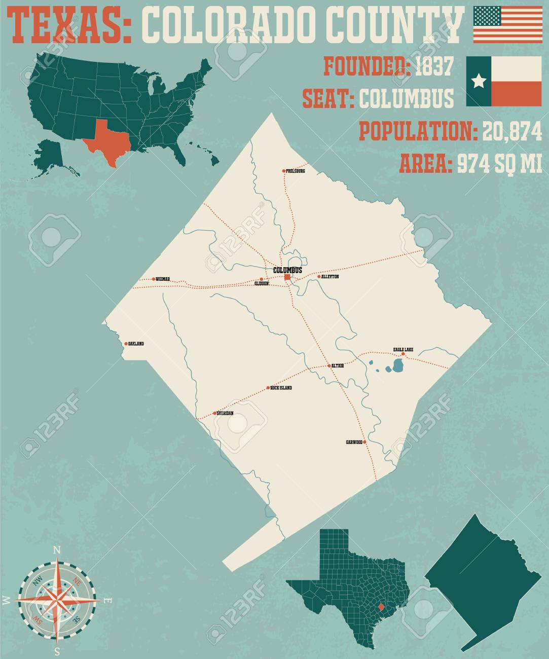 Detailed map of Colorado County in Texas, USA on
