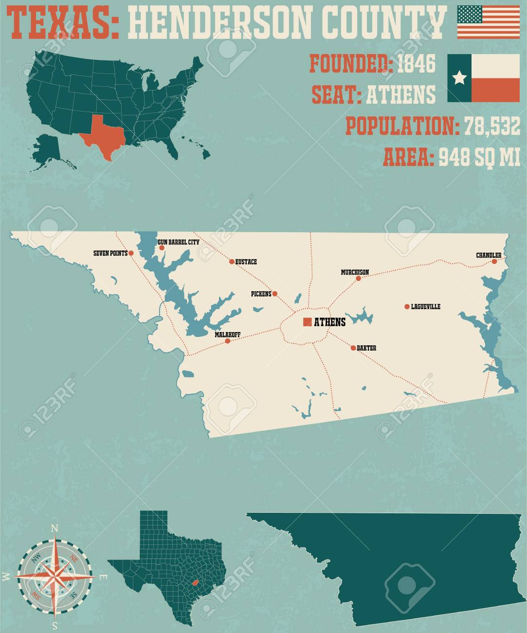 Detailed Map Of Henderson County In Texas, United States Lizenzfrei ...