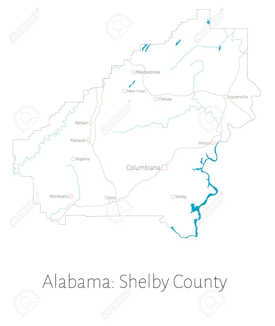 Detailed Map Of Shelby County In Alabama, United States Lizenzfrei ...