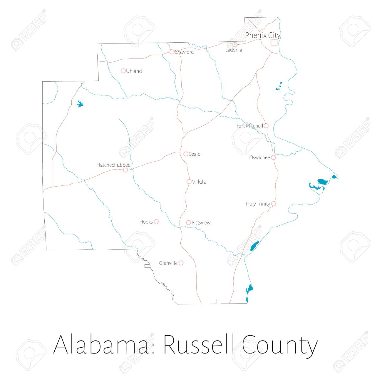 Detailed Map Of Russell County In Alabama, United States Lizenzfrei ...