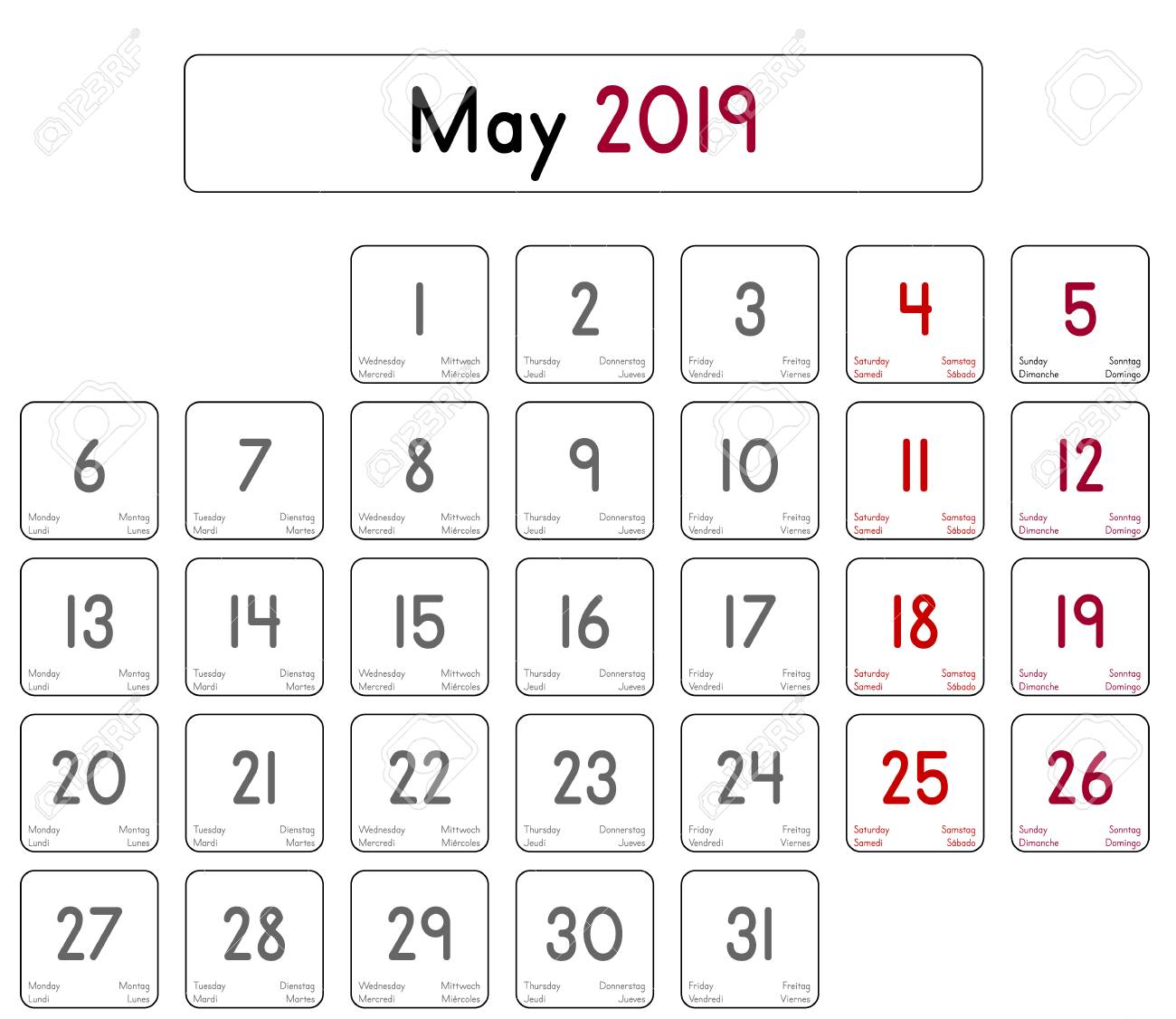 Daily Calendar | Detailed Daily Calendar Of The Month Of May 2019 Royalty Free