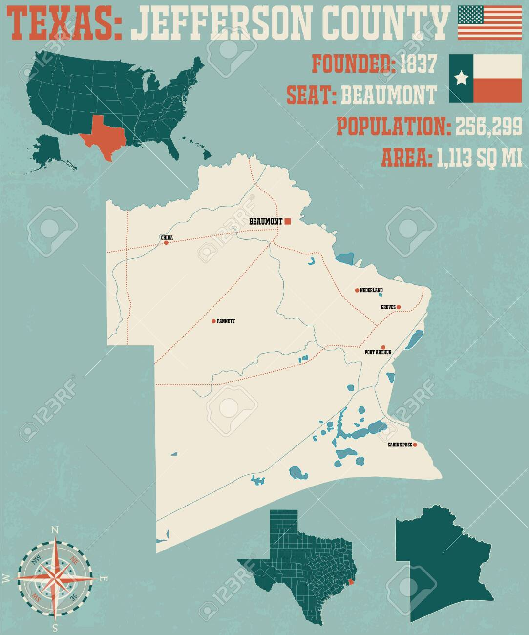 Detailed map of Jefferson County in Texas, United States on europe map 1837, united states territories 1798 to 1846, new york map 1837, texas map 1837, canada map 1837, united states congressional districts,