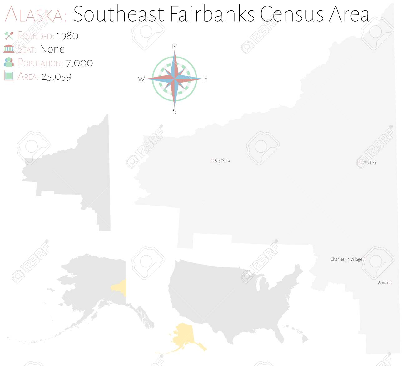 Large and detailed map of Southeast Fairbanks Census Area in..