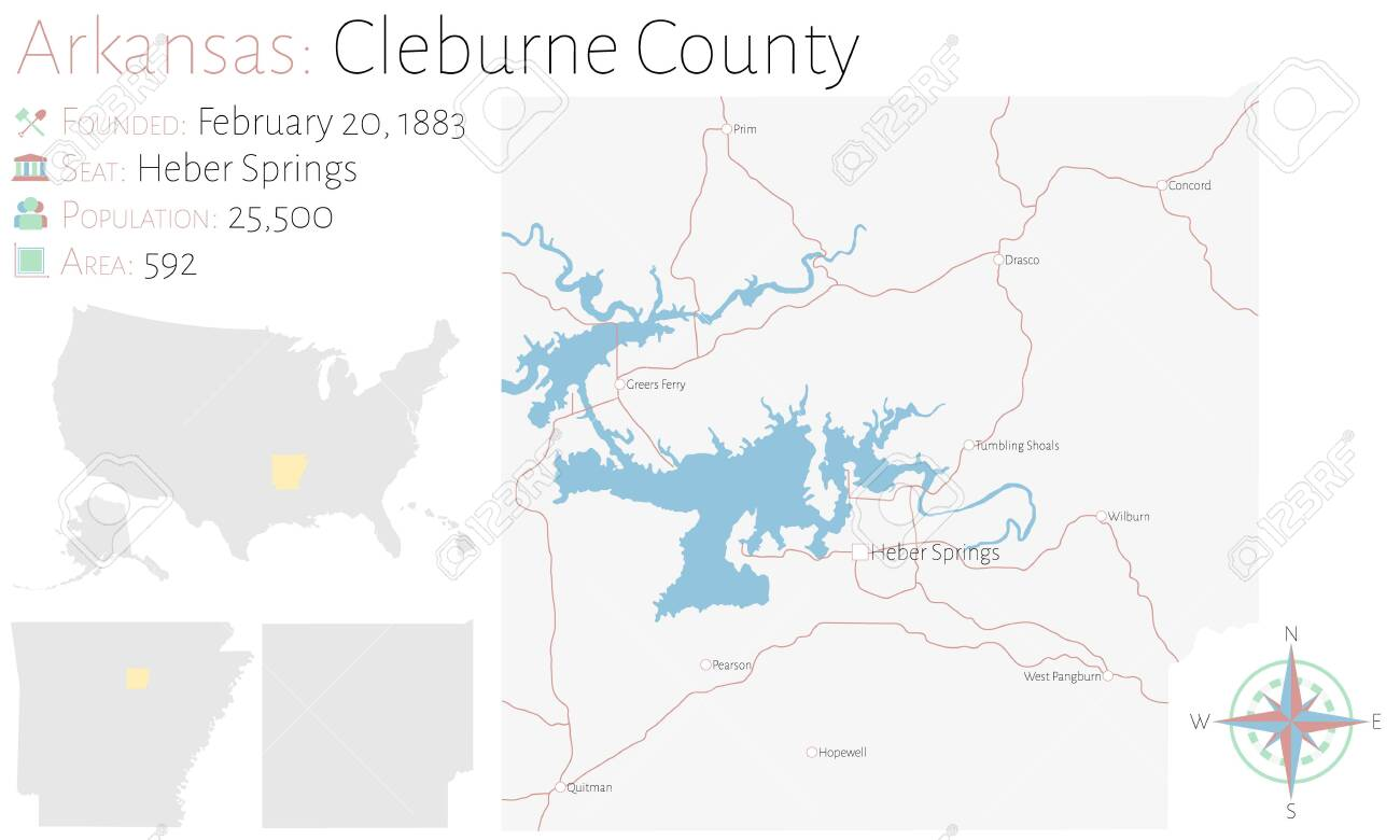 Large and detailed map of Cleburne county in Arkansas, USA