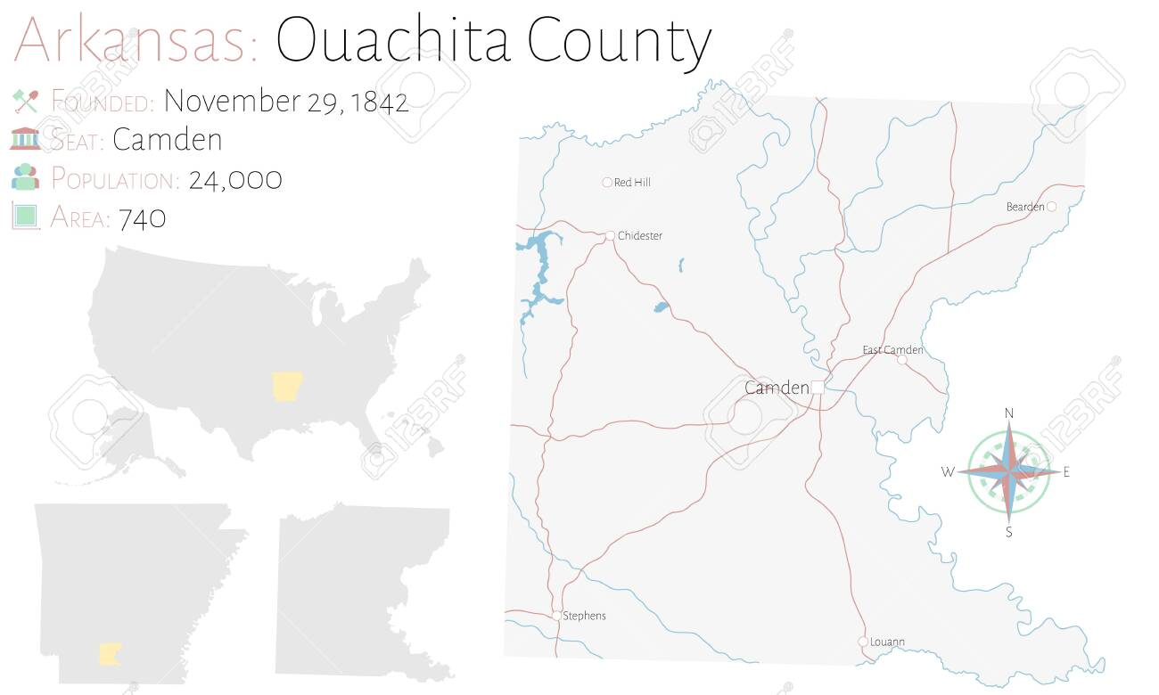 Large and detailed map of Ouachita county in Arkansas, USA