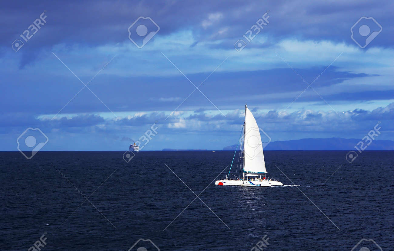 yacht  travel in atlantic ocean Stock Photo - 443245