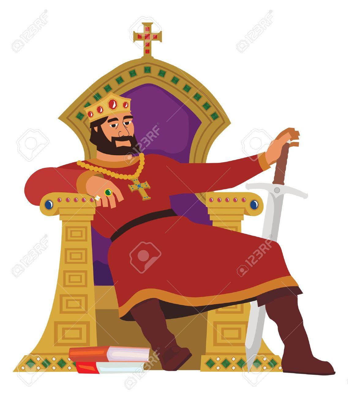 Image D Un Roi un roi heureux, reposant sur son trône. cette image est aussi