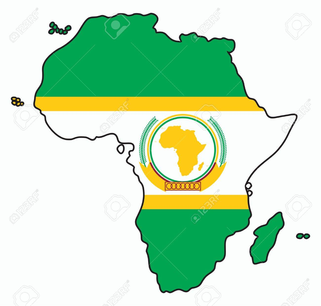 African Union Map.A Map Of Africa Colored Like The Flag Of The African Union